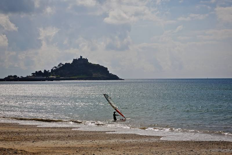 Mounts Bay with a windsurfer heading out