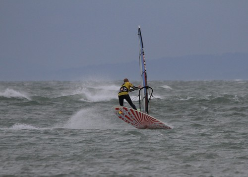 Kieran Roan doing a Vulcan at West Wittering